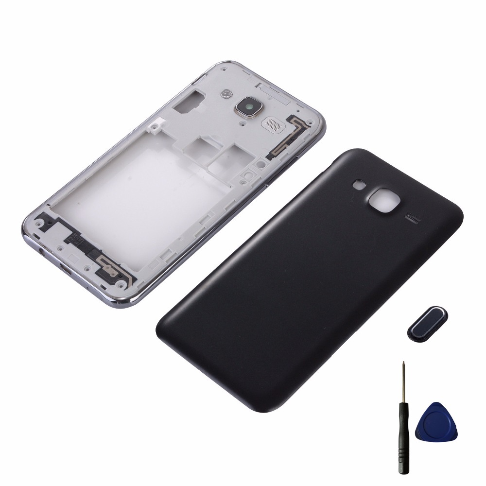 For Samsung Galaxy J5 2015 J500 J500F J500H J500M J500FN Housing Middle Frame Cover+Battery Cover+Home Button Return Key Keypad