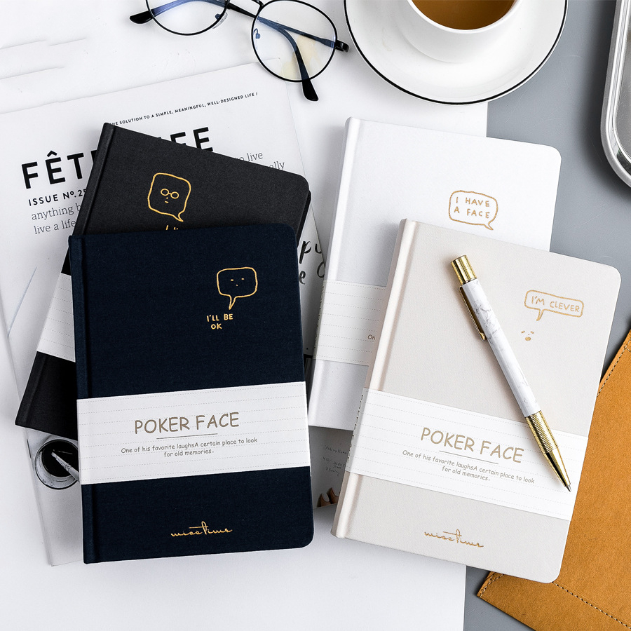 """Poker Face"" Hard Cover White Papers Beautiful Diary"