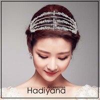 Hadiyana Luxury Silver Cubic Zirconia Wedding Tiara Crown Bride Hair Accessories Tiaras High Quality Princess Crown Party BC4721
