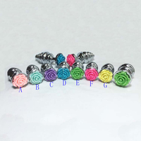 Maxde Silver Metal Spiral Anal Plug Colorful Rose Butt Plug Self Defense Women And Men For