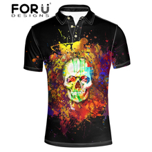 FORUDESIGNS Men Punk Style Skull Printing  Shirt Teenager Cool Pattern Short Sleeve Tops for Males Formal Office Clothing