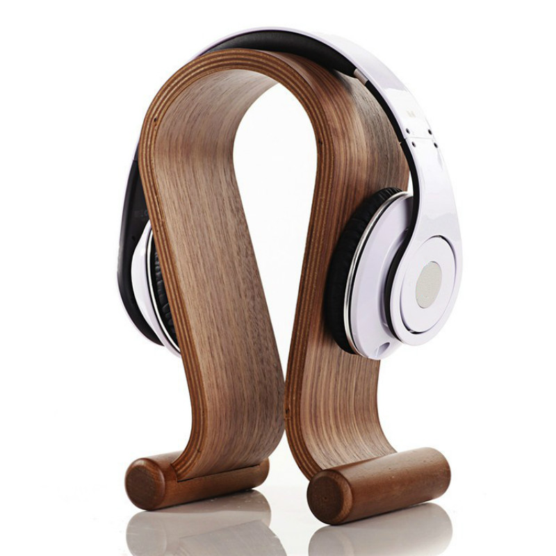 все цены на Hot selling Omega Shape Wood Stand Bracket Wooden Headset Display Bracket for A K G Sennhei Grado Sony large size headphones