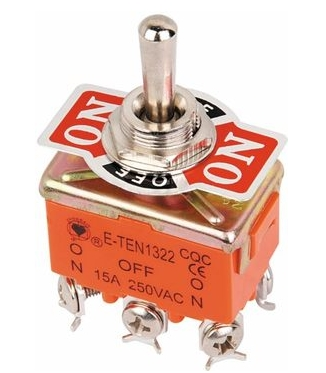 AC 15A/250V 3 Three Position On/OFF/ON DPDT 2P2T Toggle Switch Lock New 6 Screw Terminal
