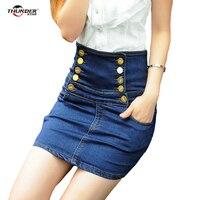 Модные женские туфли Джинсовые юбки двубортные ковбойские джинсовая юбка женская мини-юбка Bodycon Винтаж хлопка Slim Fit плюс Размеры