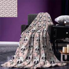 Одеяло с черепом для Хэллоуина, традиционное мексиканское сахарное платье в День мертвых роз, теплое одеяло из микрофибры