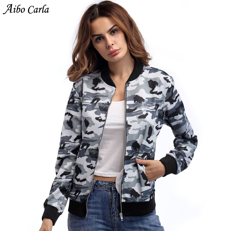 2018 Bomber   Jacket   Women Camo Camouflage Print   Jacket   Spring Fashion Biker   Basic     Jacket   Coats Zipper Outwear Casual Streetwear