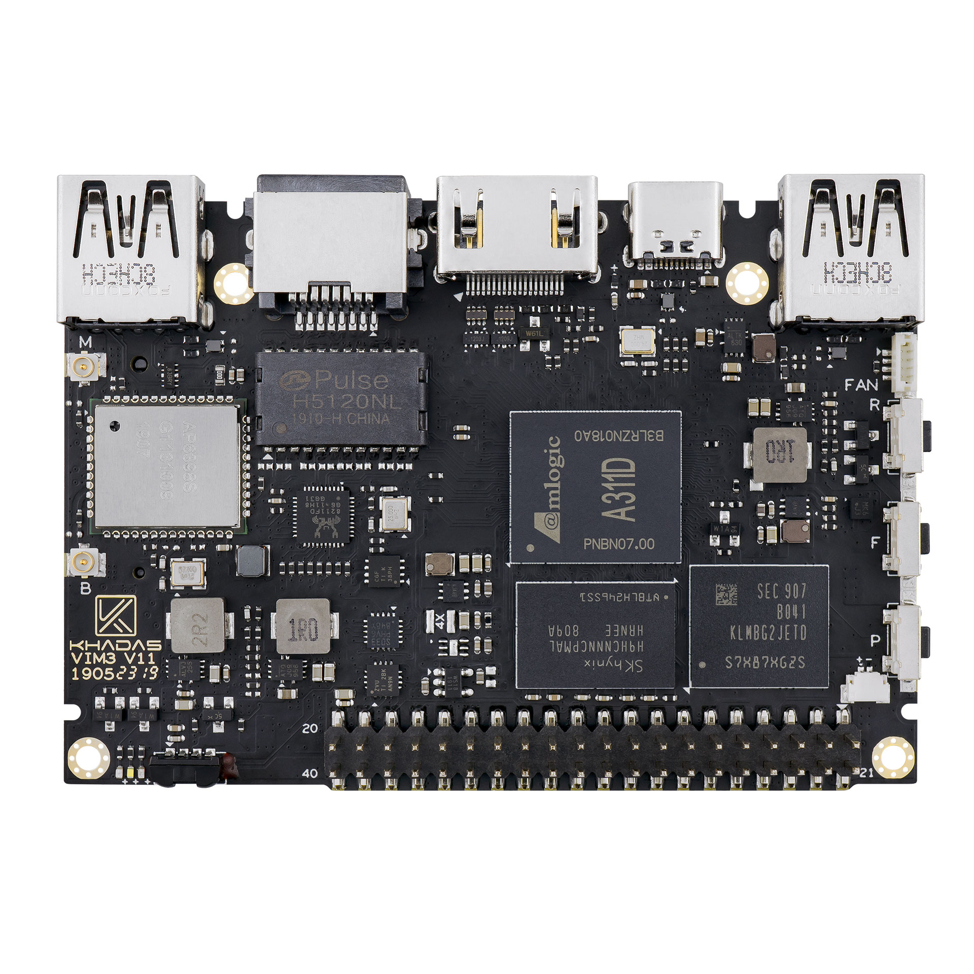 Amlogic A311D Single Board Computer With 5.0 TOPS NPU AI tensorflow x4 Cortex-A73 x2 A53 Cores Khadas VIM3 Basic SBC image