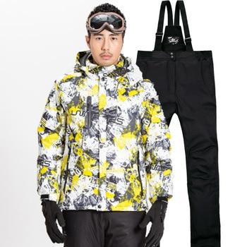 Men's Ski Suit Waterproof Super Warm Snowboarding Coat Set Ski Jacket+Ski Pant Windproof Outdoor Winter Snow Suit Male