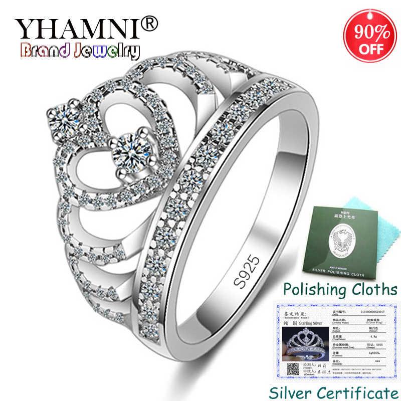 90% de desconto! Certificado de prata enviado! 100% 925 prata esterlina princesa rainha coroa anel de noivado luxo cz zircão jóias kp017