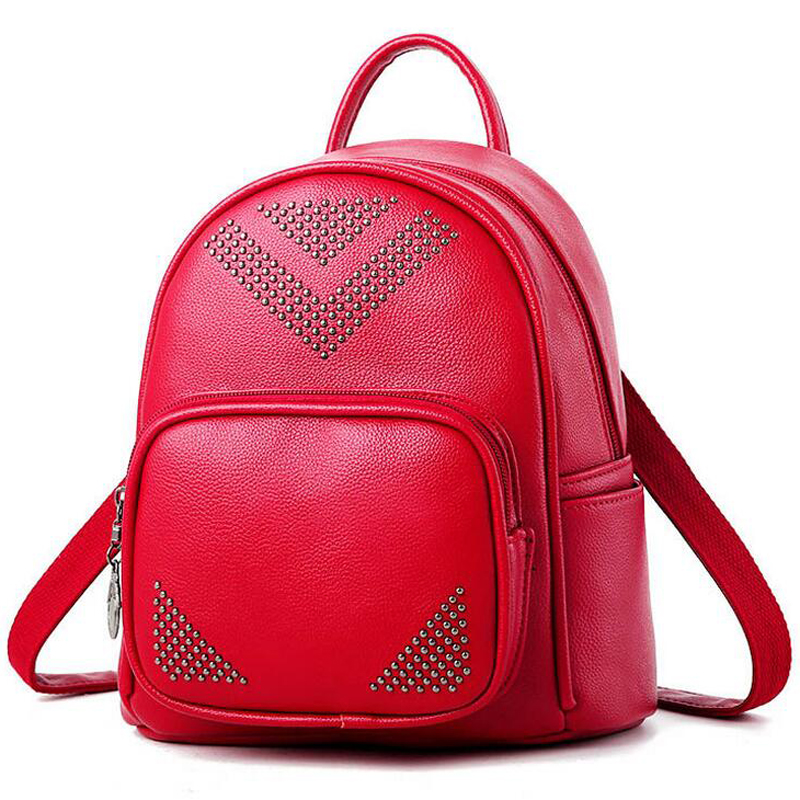 High quality female backpack style casual bag rivet female backpack polyurethane leather backpack girl bag rivet