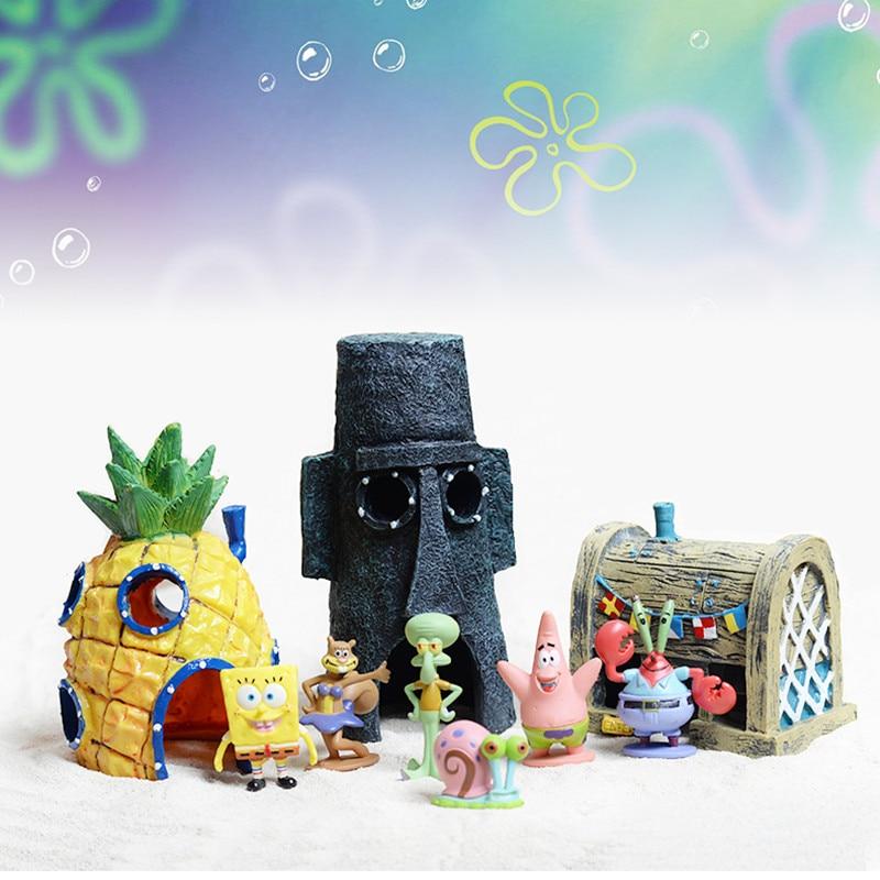 Fily Way Spongebob Aquarium Decorative Ornament Fish Tank Decoration Garden Spongebob Figures Decor For Aquarium Fish