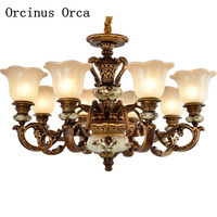 New Classical Luxury resin engraving chandelier living room dining room European style retro art Chandelier free shipping