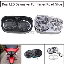 5.75 inch LED Dual Projector Headlight For Harley Road Glide 2004-2013 90W Motorcycle LED Headlight Hi/Lo halo ring 1pcs x chrome led headlight for harley davidson v rod vrod headlight vrsc v rod led headlight motorcycle aluminum headlight