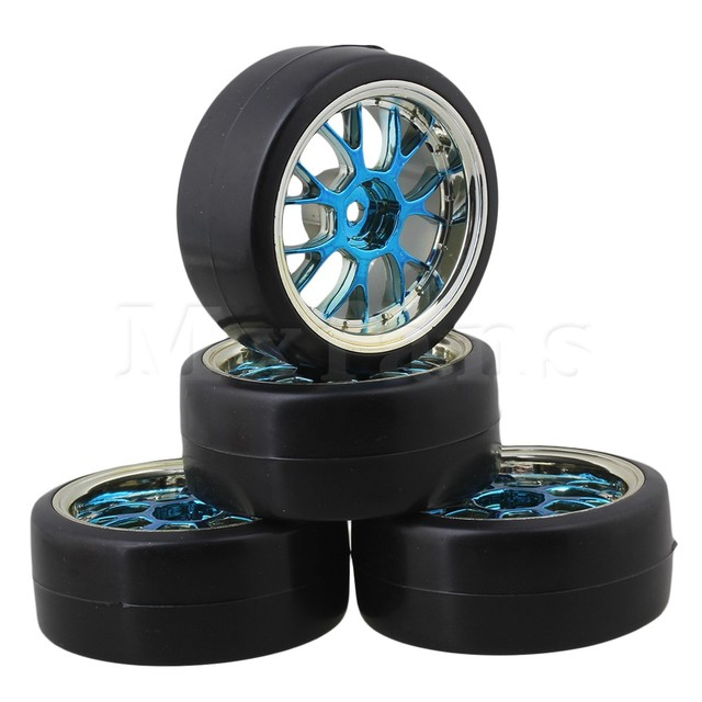Mxfans 4 x Drift Tires & Y Shape Blue Hub Mxfans Wheel Rims for RC 1:10 Drift Car Black Plastic