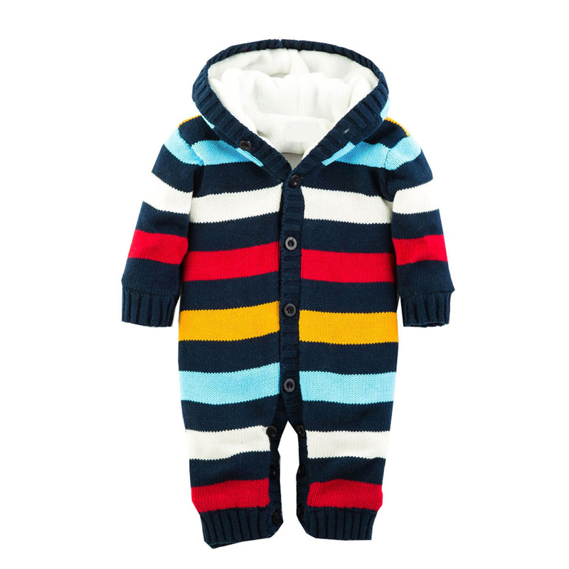 Newborn Winter Warm Thick Baby Boys Girls Jumpsuit Infant Rainbow Color Knitted Sweater Rompers Hooded Outwear Climbing Clothes puseky 2017 infant romper baby boys girls jumpsuit newborn bebe clothing hooded toddler baby clothes cute panda romper costumes