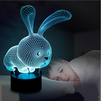 Bunny Rabbit Model Crafts 7 Color Changing LED Atmosphere Gradient Visual Perspective Night Light Illusion Lamp