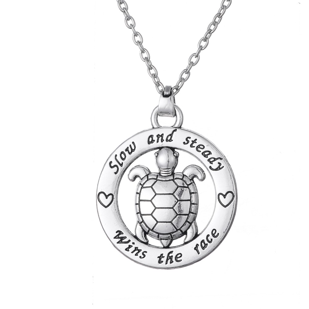My Shape Turtle Jewelry Slow And Steady Wins The Race Tortoise Circle Affirmation Pendant Inspirational Word Necklace Animal 4