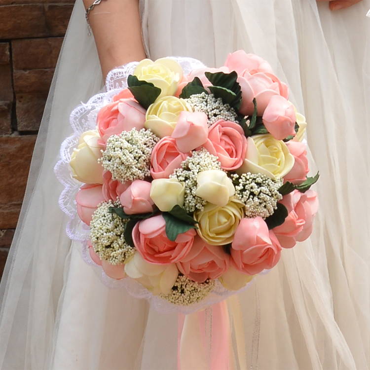 Bokeh Flowers Wedding: Artificial Silk Flowers Bouquet Foam Roses Wedding Bouquet