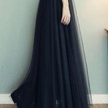 2371ec2cf8 Elegant Purple Black Tulle Long Skirts A-Line Ankle-Length Solid Maxi Skirts  Formal