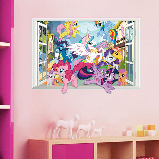 ... Decorative Children Bedroom 3d My Little Pony Wall Stickers Removable  Nursery Wall Decals Home Decor Wall ... Part 25