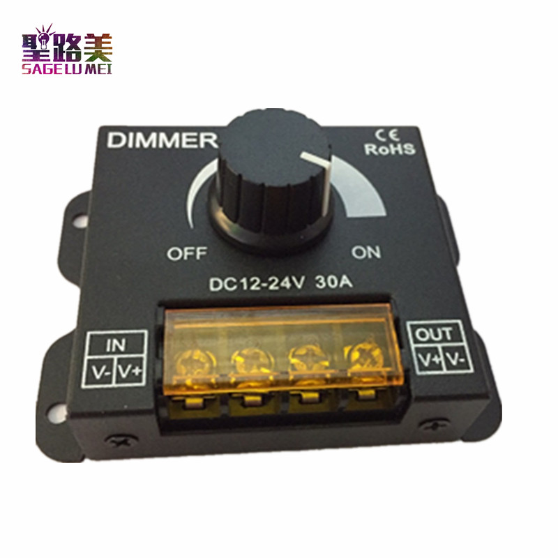 DC12V-24V LED Dimmer 8A 30A 96W 360W Adjustable Brightness Lamp Strip Light Driver Single Color LED Controller 5050 3528 Tape