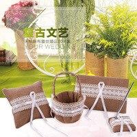 NEW Burlap Jute Floral Lace Flower Girl Basket, Ring Bearer Pillow 6 Rustic Wedding Free Shipping
