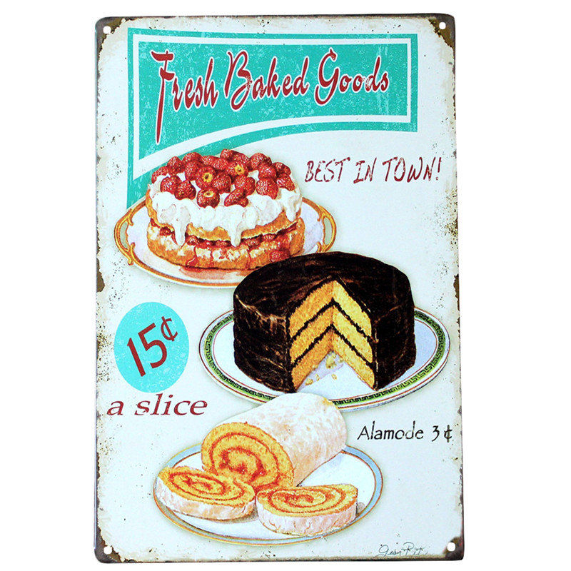 Fresh Cream Lemon Cake Home Baked Retro Kitchen Small Metal//Steel Wall Sign
