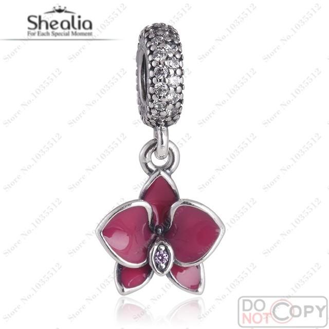 Verano de la orquídea esmalte Charms plata esterlina 925 Purple Clear Flower CZ cuelga el encanto orquídea adapta European Brand pulseras de la joyería