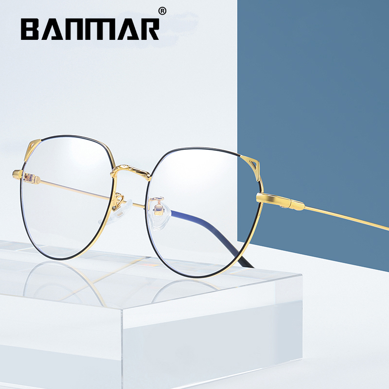 BANMAR Retro Cat Eyes Glasses Frame Anti Blue Light Men Women Flat Mirror Metal Shortsighted Optical Eyeglasses Frame 1919 in Women 39 s Blue Light Blocking Glasses from Apparel Accessories