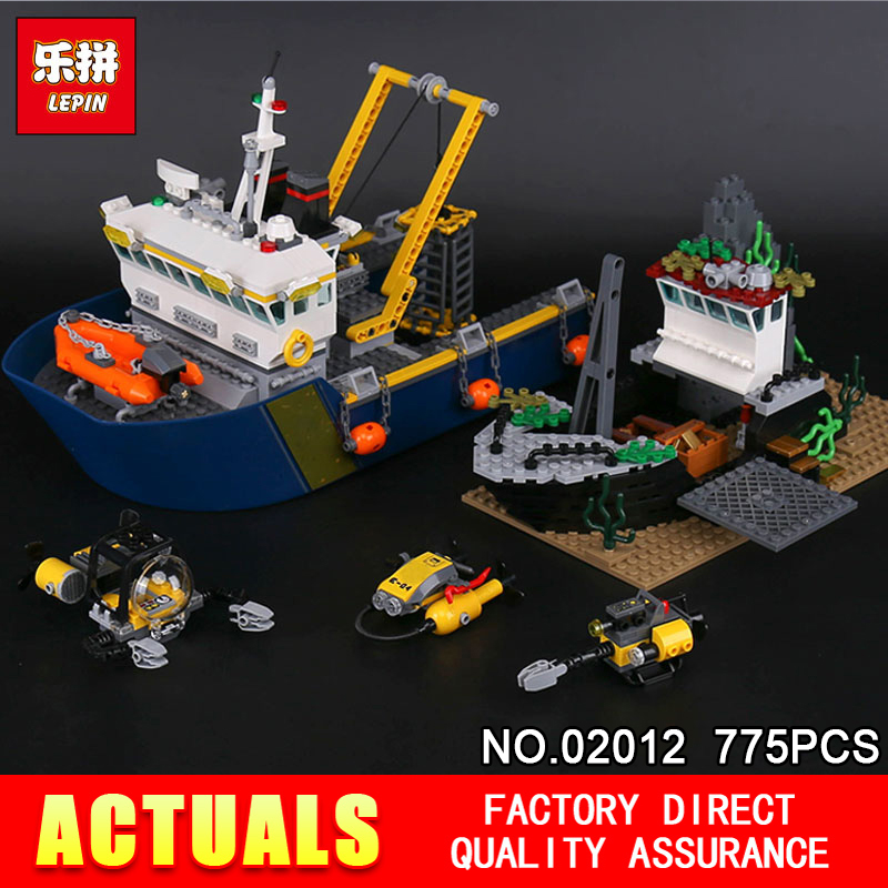 Lepin 02012 Genuine 775Pcs City Series Compatible 60095 The Deep Sea Exploration Vessel Set Assembled DIY Christmas Gifts цена