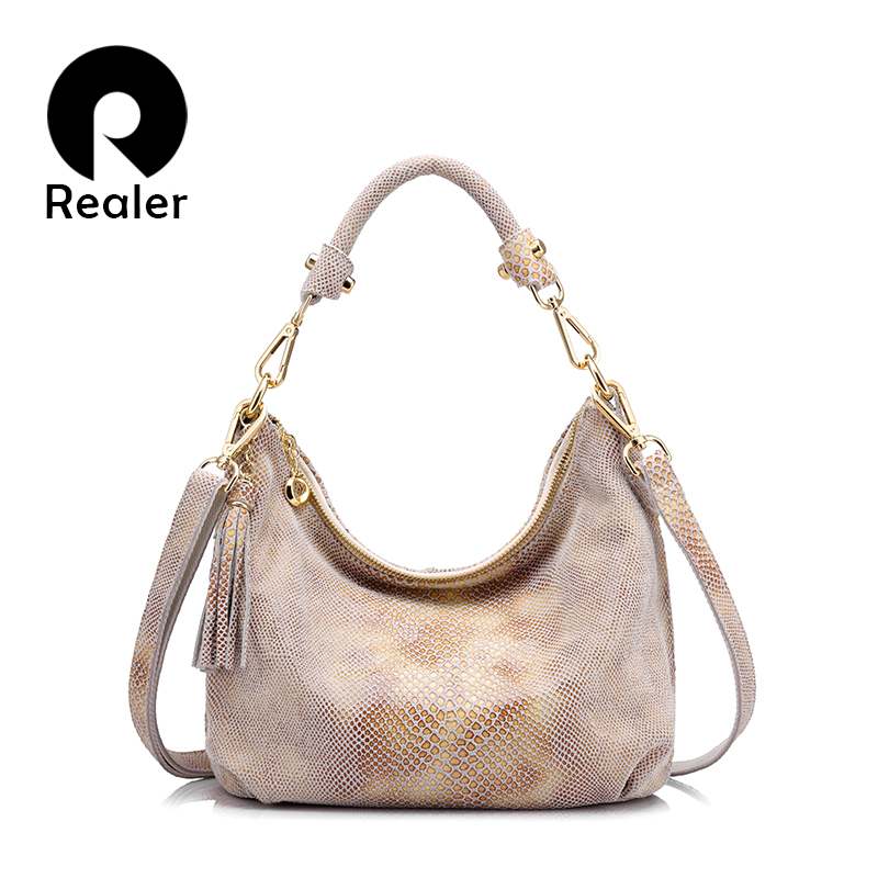 REALER brand genuine leather handbag women tassel shoulder bag female small tote  bag gold python pattern leather messenger bags - Designer Accessories ... f17ddf42d9513