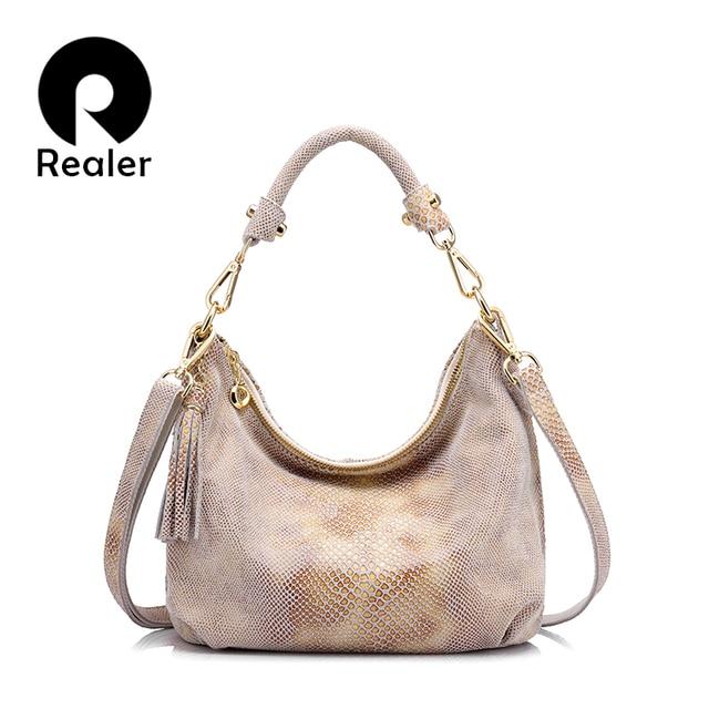 REALER бренд женская сумка из натуральной кожи, сумка женская с принтом золотой питон, наплечная женская сумка с кисточкой