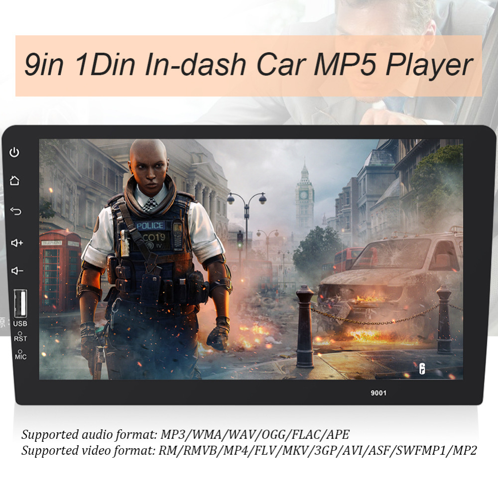 9inch 1Din In dash Bluetooth Car Stereo MP5 Player AUX In FM Radio Head Unit HD
