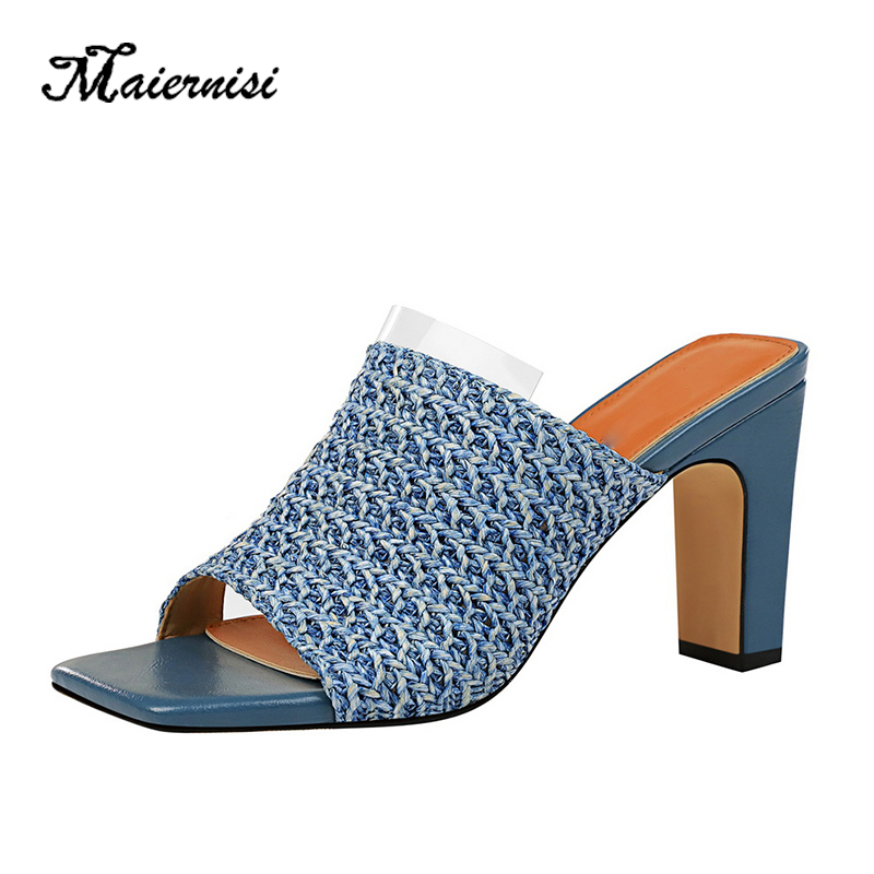 MAIERNISI <font><b>women</b></font> fashion <font><b>slipper</b></font> new brand <font><b>high</b></font> quality transparent Knitting ladies <font><b>high</b></font> <font><b>heel</b></font> <font><b>shoes</b></font> summer <font><b>sexy</b></font> casual <font><b>shoes</b></font> image