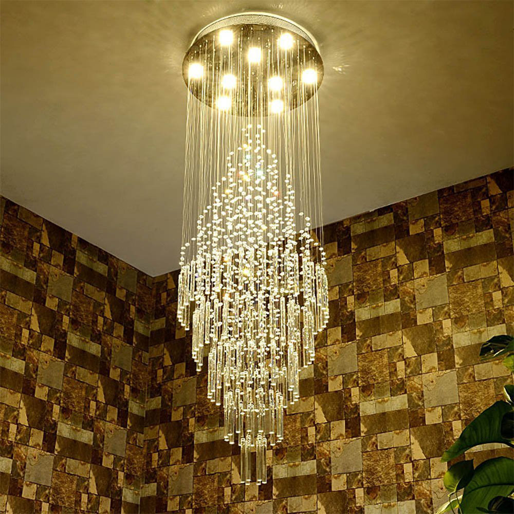 Z Modern K9 Crystal Spiral Long Hall Chandelier GU10 LED <font><b>Light</b></font> <font><b>Pendant</b></font> Lamp Staircase Lobby Living Room Corridor Lamp Hot Sale image