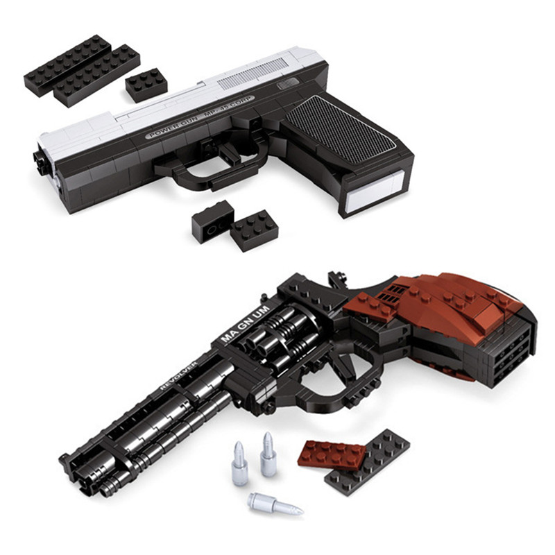 MP-45 Semiautomatic Pistol Arms Model 1: 1 3D 268pcs Black Model Brick Gun Bangunan Blok Set Toy Sesuai dengan hadiah