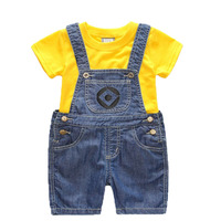 Boys Girls Set Children S Denim Shorts Suit Kids Clothes T Shirt And 2pc Minions Clothing