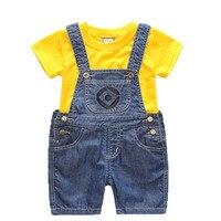 Jongens Meisjes Set kinderen Denim Shorts Pak Kinderkleding T-shirt En 2 st Minions Kleding Zomer Kinderen Enfant Roupas Menino