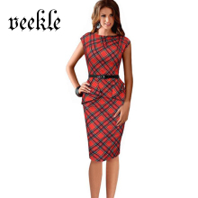 2016 New Womens Vintage Elegant Belted Tartan Peplum Ruched Tunic Work Party Cap Sleeve Bodycon Sheath Dress Femme Robe Kleider
