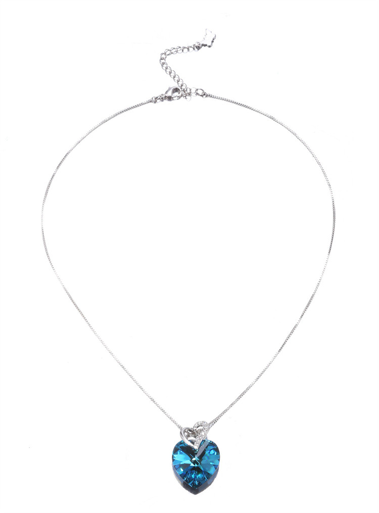 HTB1E0ncbCSD3KVjSZFKq6z10VXaw Warme Farben Crystal from Swarovski Women Necklace Fine Jewelry Blue Heart Crystal Pendant Necklace Valentine's day Gift
