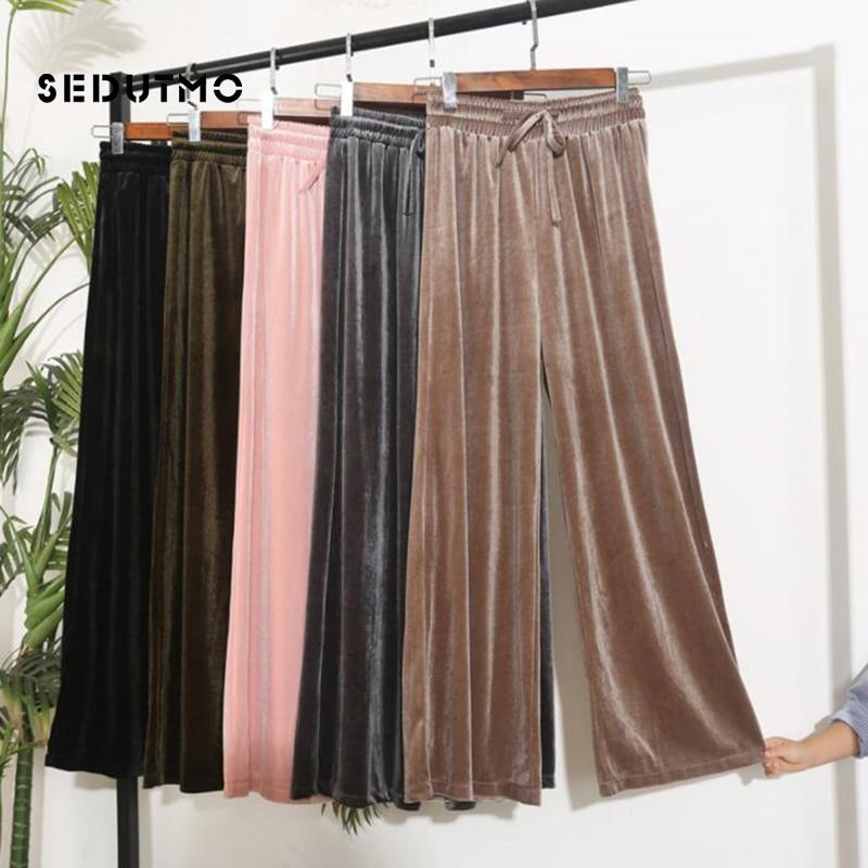 SEDUTMO Winter   Wide     Leg     Pant   Women Velvet High Waist Trousers Loose Elastic   Pants   Vintage Black Streetwear Sweatpants ED676