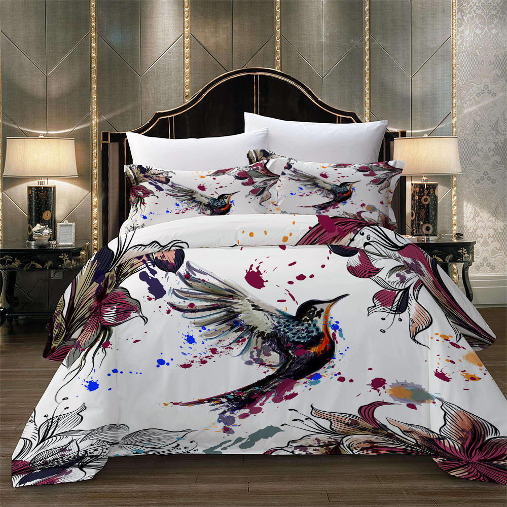 3D Bird Flower Bedding Set Duvet Cover With Pillowcases Twin Full Queen King Size Bedclothes 3pcs Home Textile