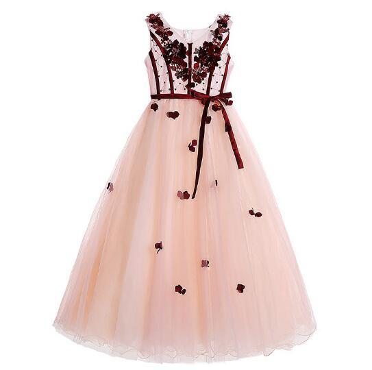 Girl's Wedding Formal Dresses 2018 Summer Gauze Long Gowns Flowers Girls Princess Dress Kids Model Evening Party Prom Dress Pink long criss cross open back formal party dress