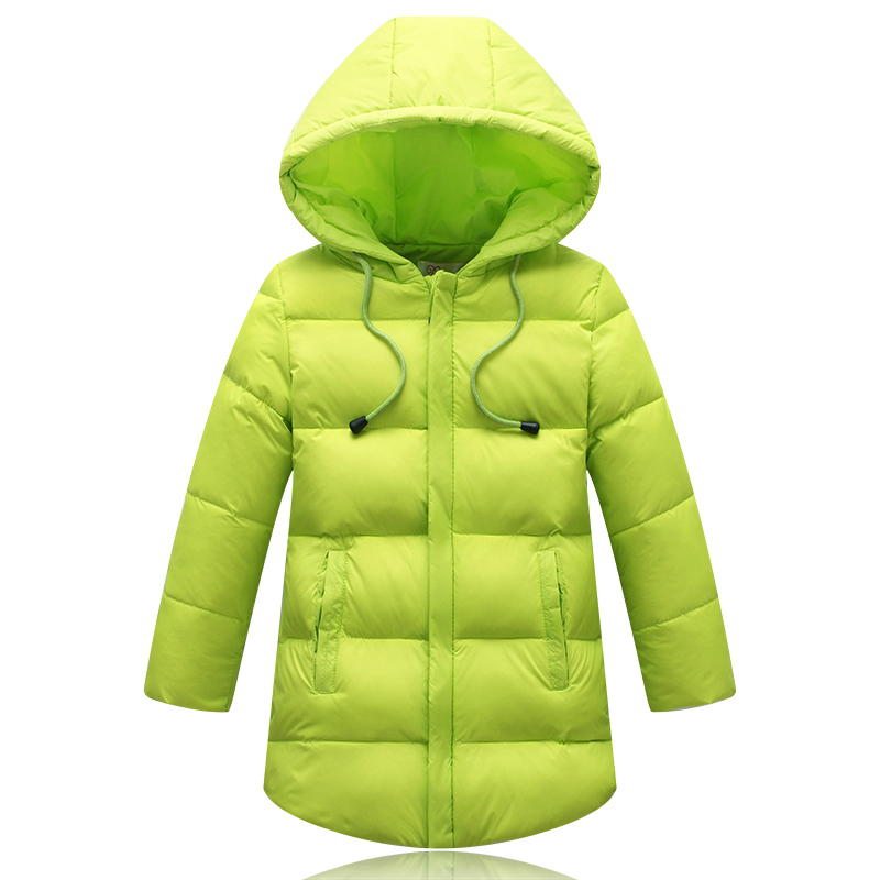 New 2017 Children Long Style Coats Outerwear Winter Boys Jackets Thick Down & Parkas Cotton Solid Clothes For Kids Girls 110-150 korean baby girls parkas 2017 winter children clothing thick outerwear casual coats kids clothes thicken cotton padded warm coat