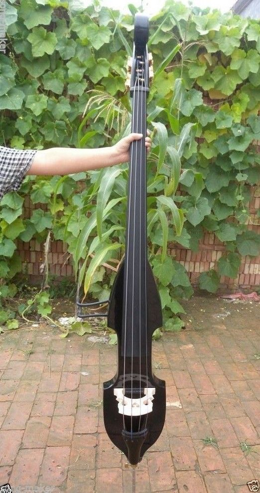 2 # 4  string   black  color    3/4 new    Electric Upright Double Bass Finish silent Powerful Sound  002208 4 string 3 4 new electric upright double bass finish silent powerful sound