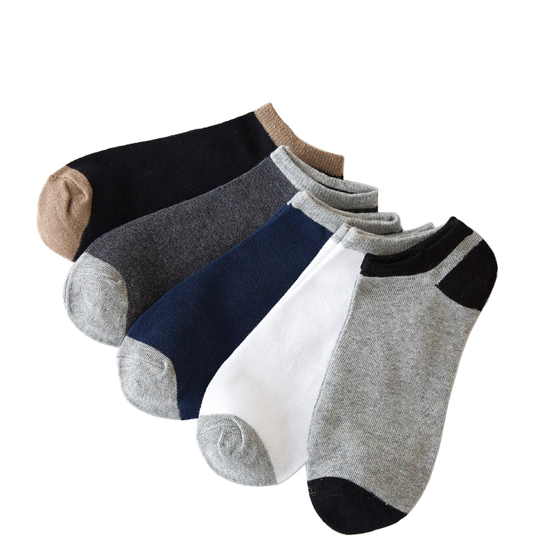 5pairs/lot Casual Men Socks Cotton Boat Socks Towel Patchwork Hit Color Breathable Cotton Socks Short Concise Funny Socks Meias