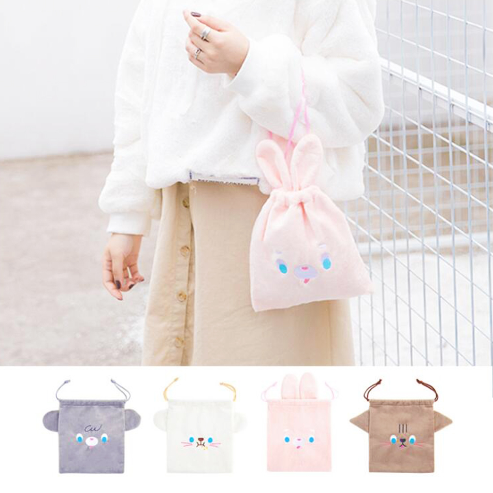Women Travel Bags Menstruation Pocket Wrap Pack Sanitary Pouch Cosmetic Cases Cute Cup Sleeve Flannel Lovely Drawstring Bags