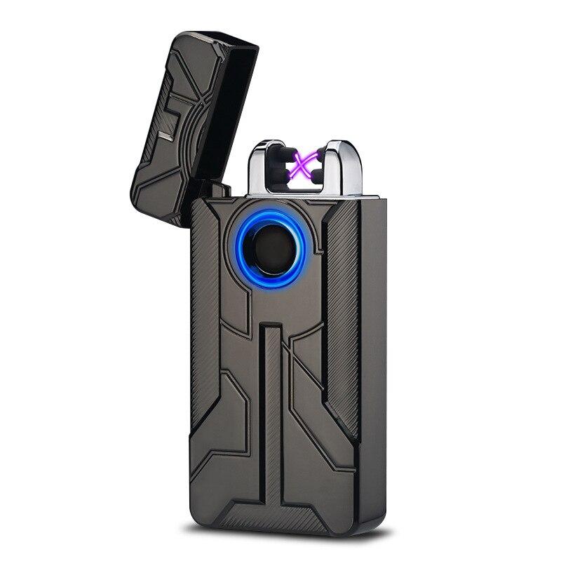 New Iron Man Disegno Arco Pulsato Dell'interruttore di Tocco di Impronte Digitali USB Ricaricabile Più Leggero Elettrico Plasma Cigarette Lighter Cigar Erbaccia