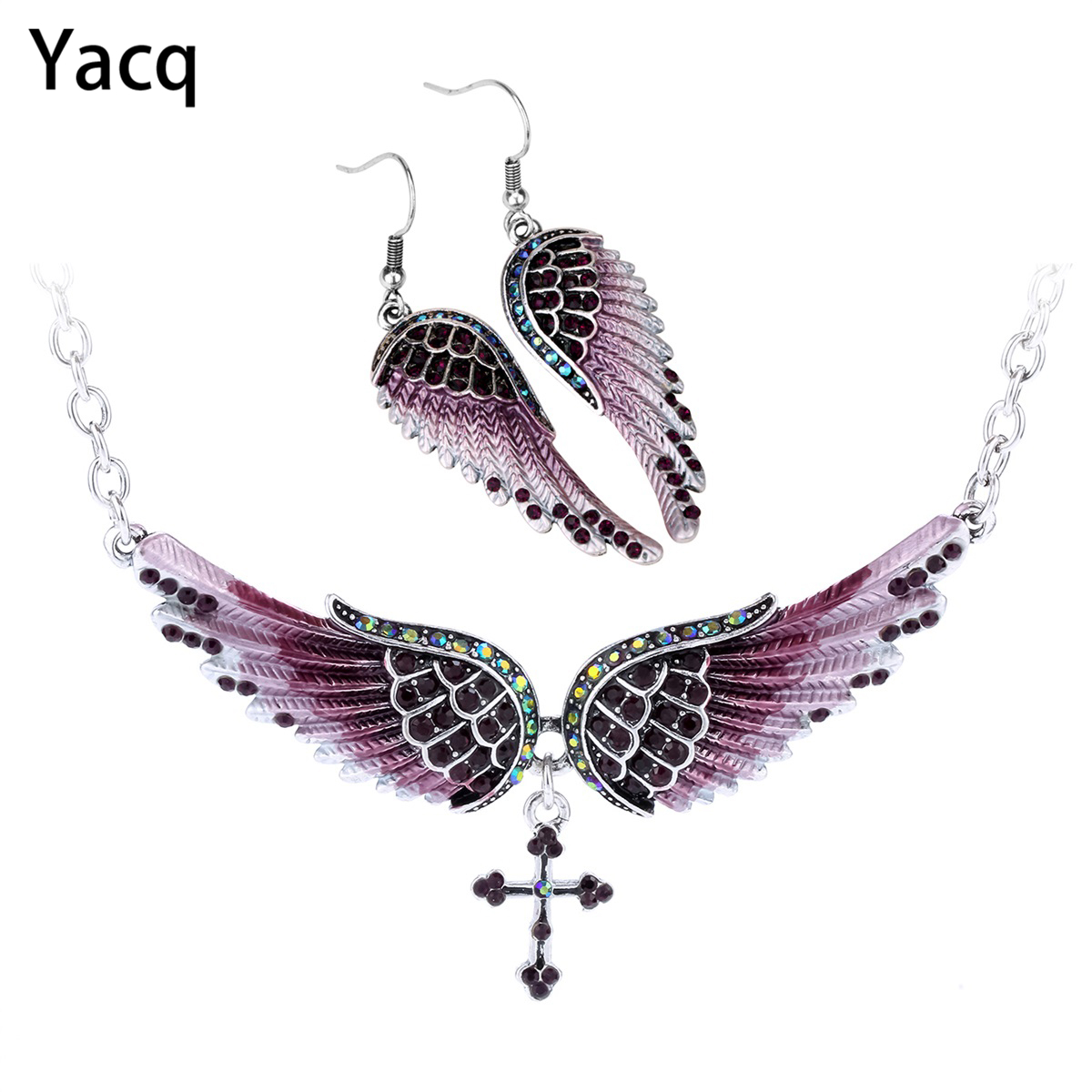 Yacq Angel Wing Cross Necklace Earrings Sets Women Biker Bling Jewelry Birthday Gifts For Her Wife Mom Girlfriend Dropshipping