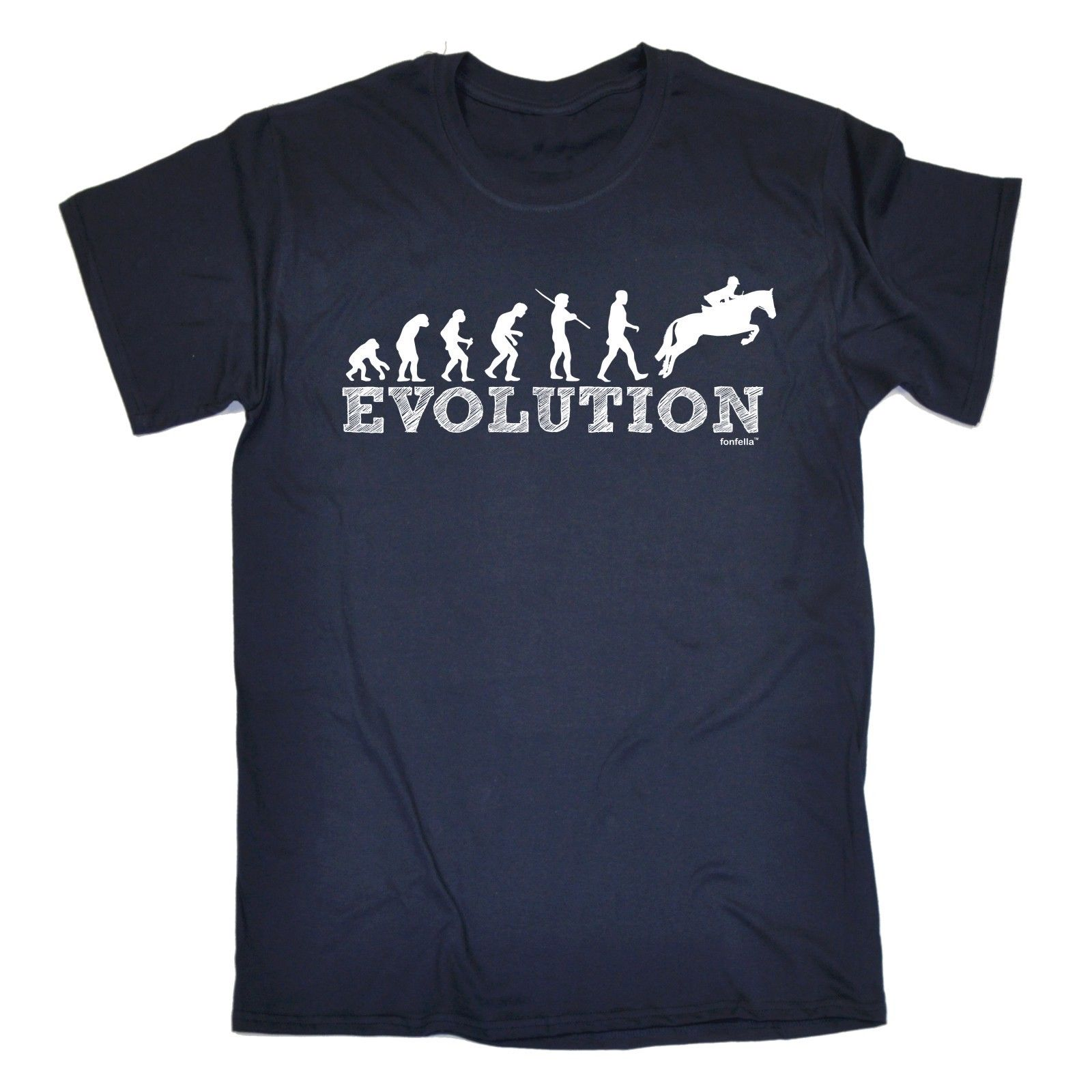 Evolution Horse Jumping T-SHIRT Show Riding Ride Equestrian Funny Birthday Gift Brand Cotton Men Clothing Male Slim Fit T Shirt 1